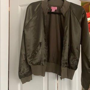 Green satin bomber jacket
